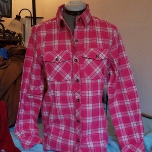 NWT Browning Women's Flannel Pink White Medium
